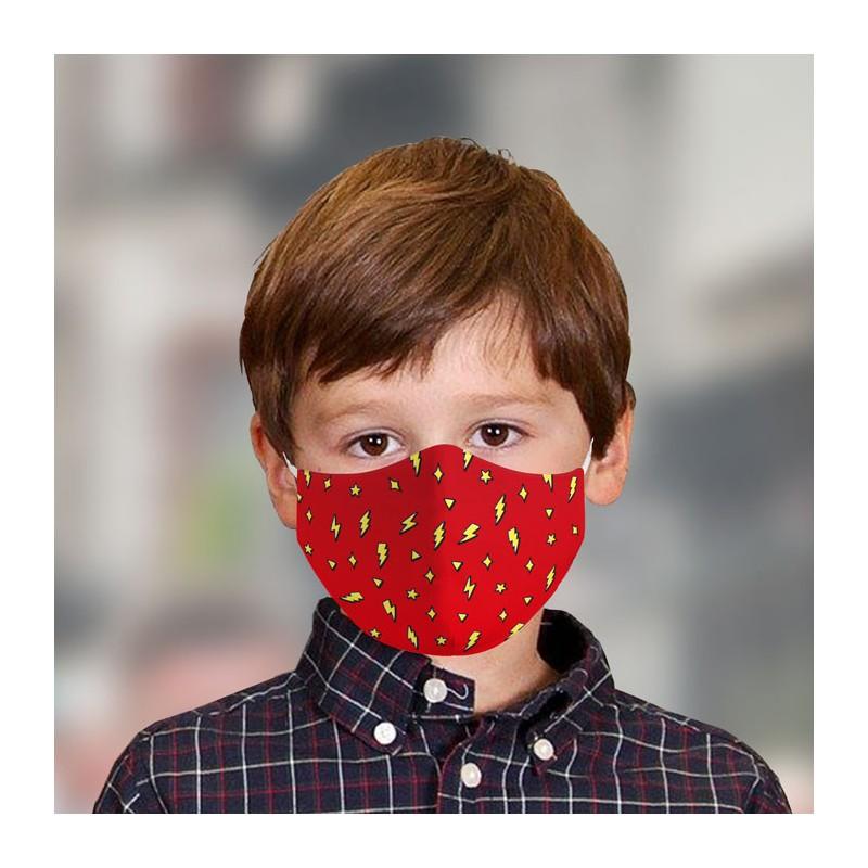 Mascarilla infantil Rayos rojo