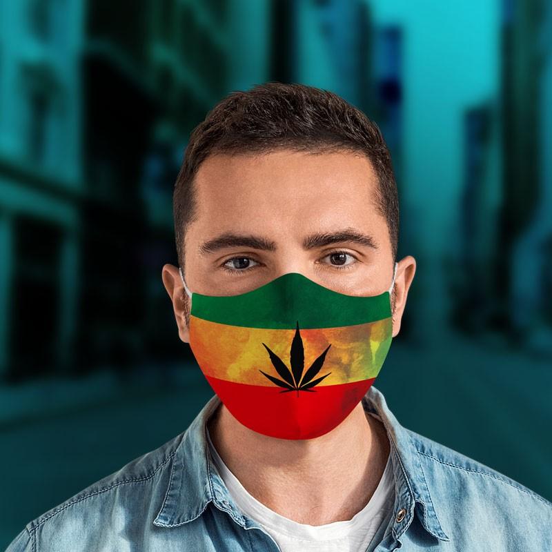 Mascarilla cannabis bandera rastafari